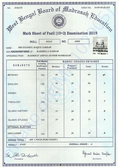 My Higher Secondary Education Marksheet of 2019