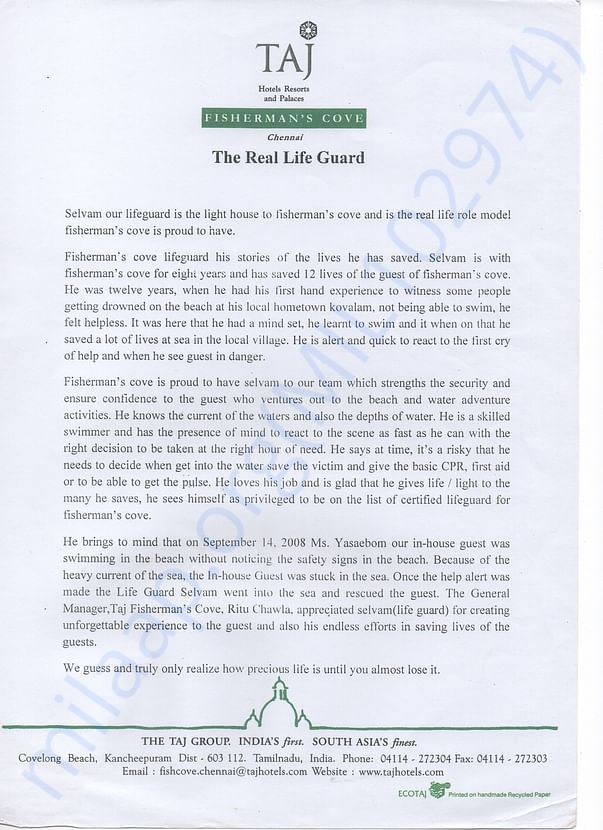 Appreciation Letter From Taj Fishermans Cove