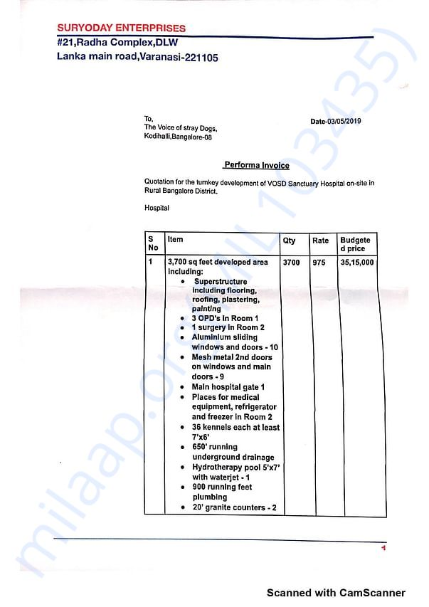 Proforma Invoice for the construction