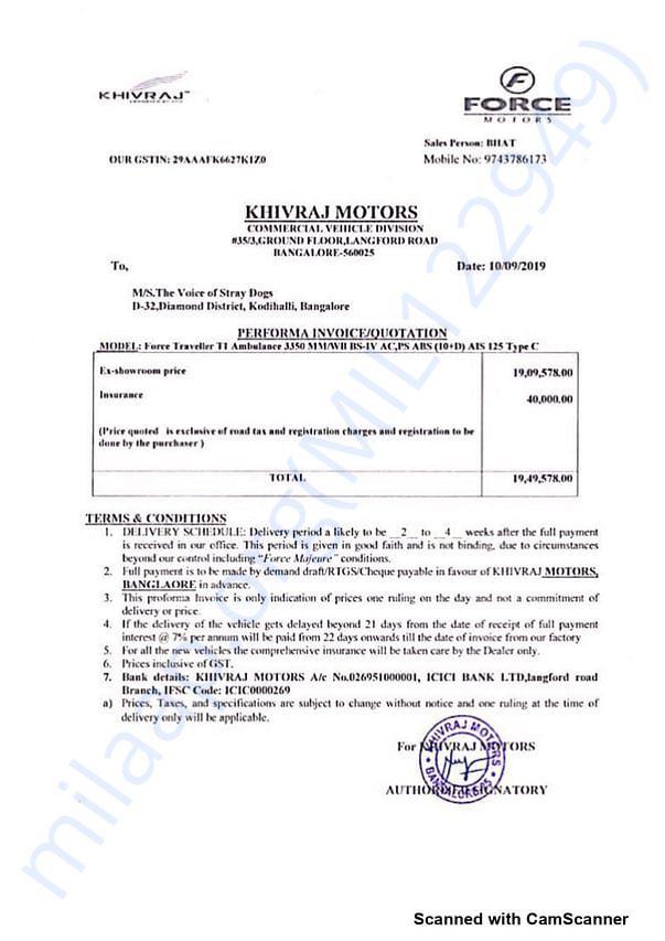 Proforma Invoice for Vehicle