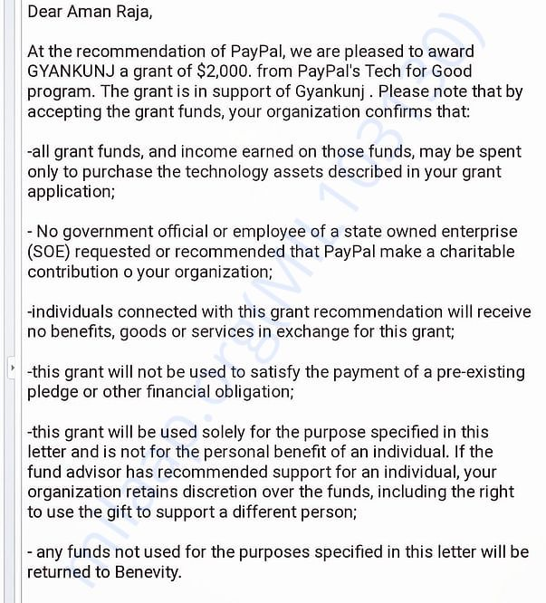 Won a grant of 2000 USD, PayPal India
