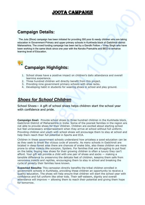 Objective Description of the Campaign