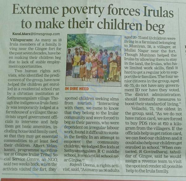 Extreme poverty forces Irulas to make their children beg