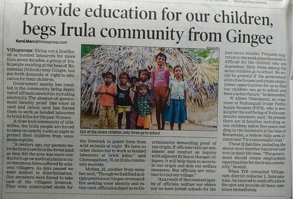 Provide education for our children, begs Irula community from Gingee