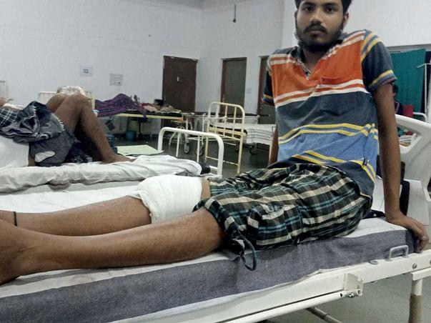 Help them He has a broken leg in an accident