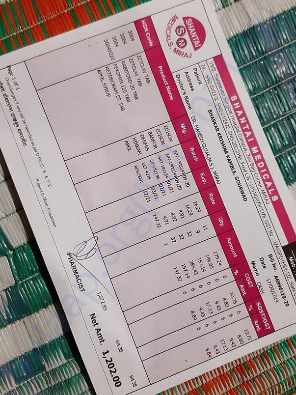 Medical receipts