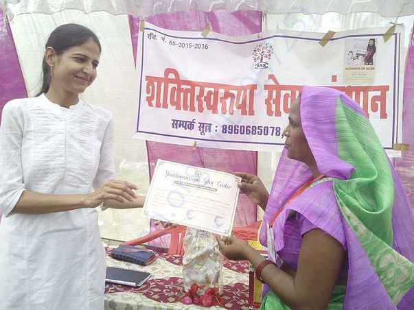 After sewing training, taking certificate
