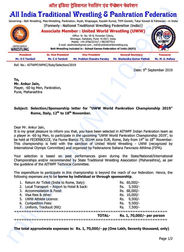 Selection Letter