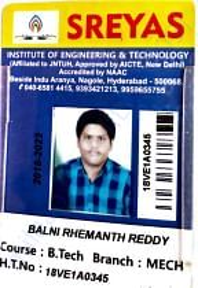 Rhemanth's B.Tech ID Card
