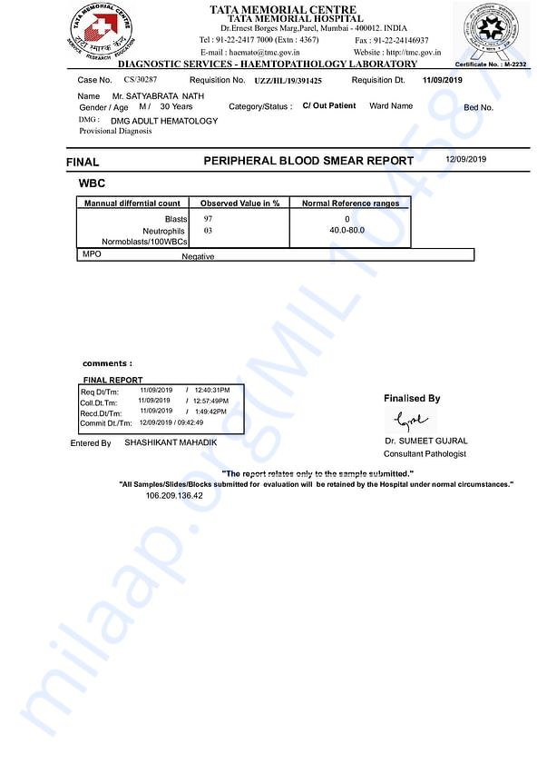 preipherial blood smear report