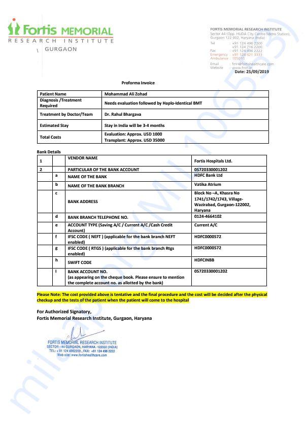Proforma Invoice from the Treatment Hospital