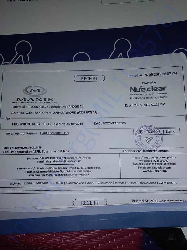 Invoice for the CT Scan