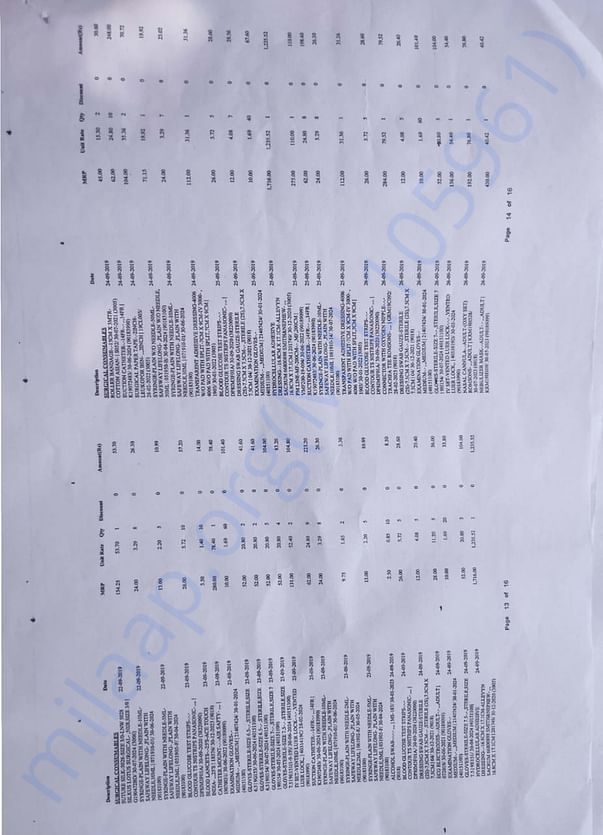 Medical bills page 13-14