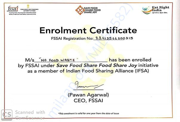 No Food Waste officially recognized by FSSAI, Govt. of India
