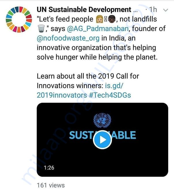 No Food Waste Founder speech in United Nation Forum