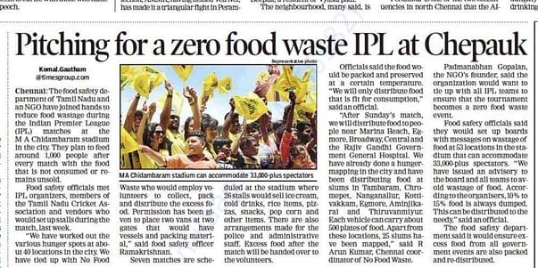 No Food Waste Food Collection in Chennai IPL Matches