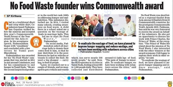 No Food Waste Won Commonwealth Youth Award for Asia Region in Mar 2019