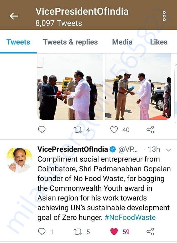 Hon'ble Vice President of India Tweet about No Food Waste