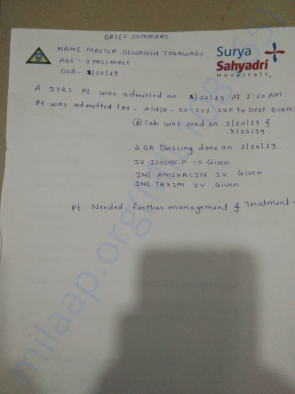 The Test and treatment given by Surya Sahyadri Hospitals