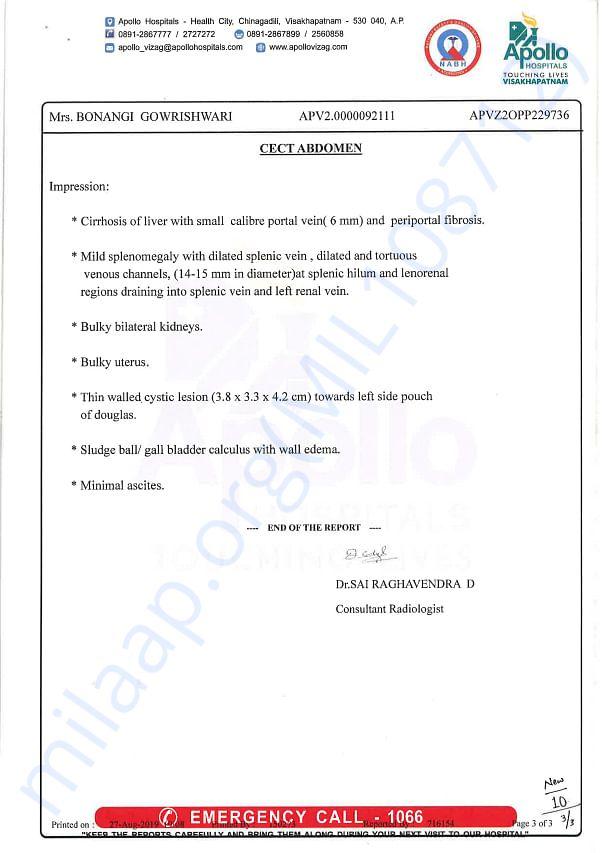 CECT Abdomen Report Page 3 of 3