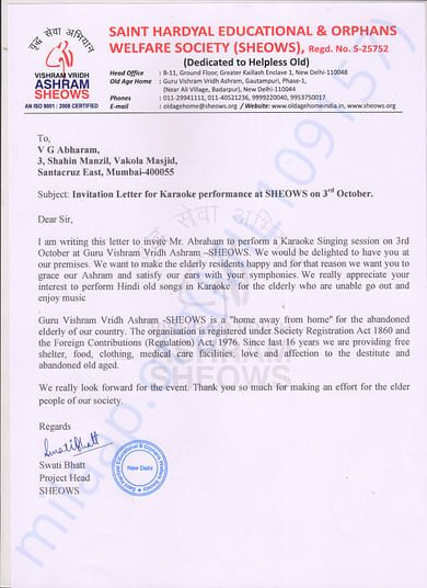Invitation letter from SHEOWS Delhi