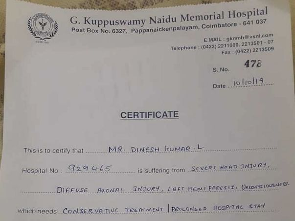 Help My Brother-In-Law Dinesh Kumar L Recover From An Accident