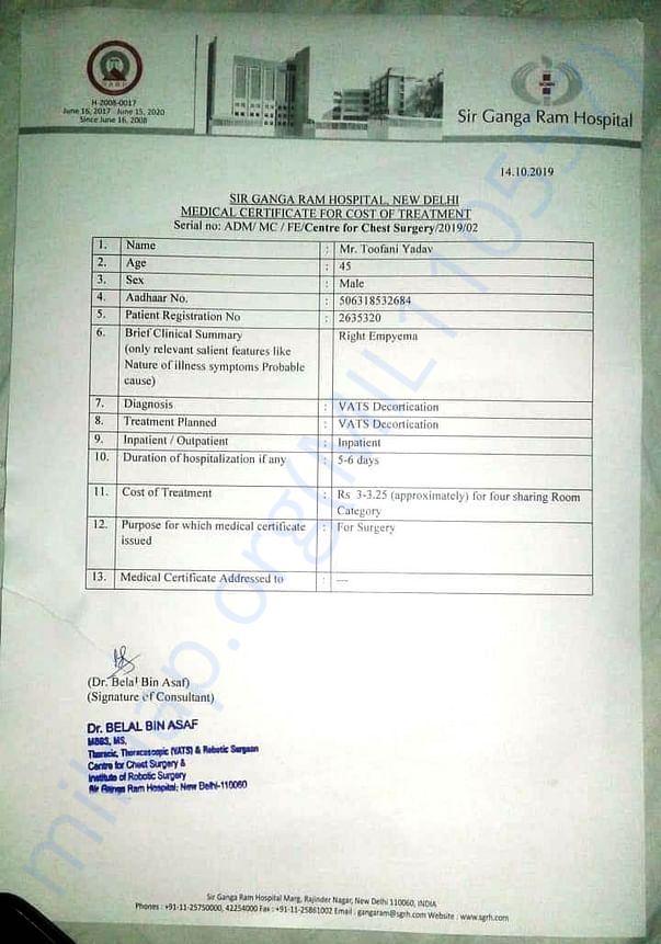 Medical Estimates_Toofani Yadav_Sir Ganga Ram Hospital