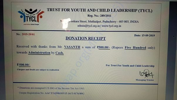 Receipt of donation