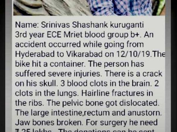Support Srinivasa Sashank Recover From Traumatic Brain Injury