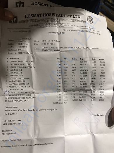 bills and estimate letter from Hospital