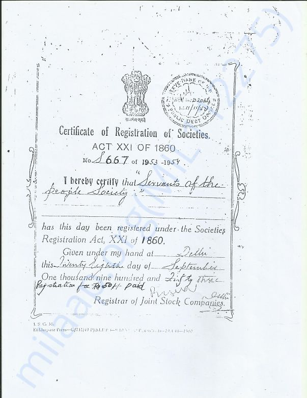 Society certificate