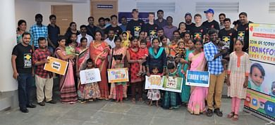 Philip & LWR team with some of the patients who got free cleft surgery