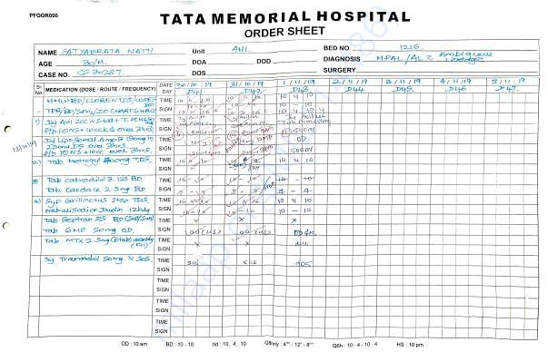 Tata Memorial Hospital medications sheet in general ward