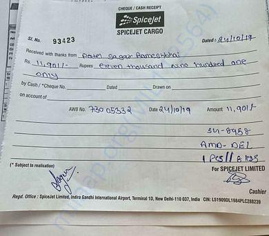Our Bill for Flying a dog for adoption - Gujarat - delhi