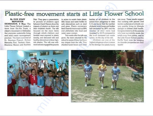 Plastic Free movement at Little Flower School organised by DO NO TRASH