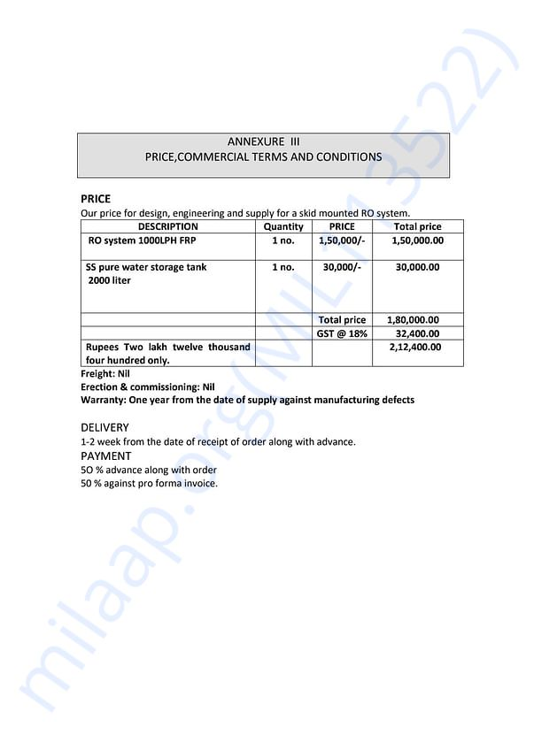 Water Plant Invoice