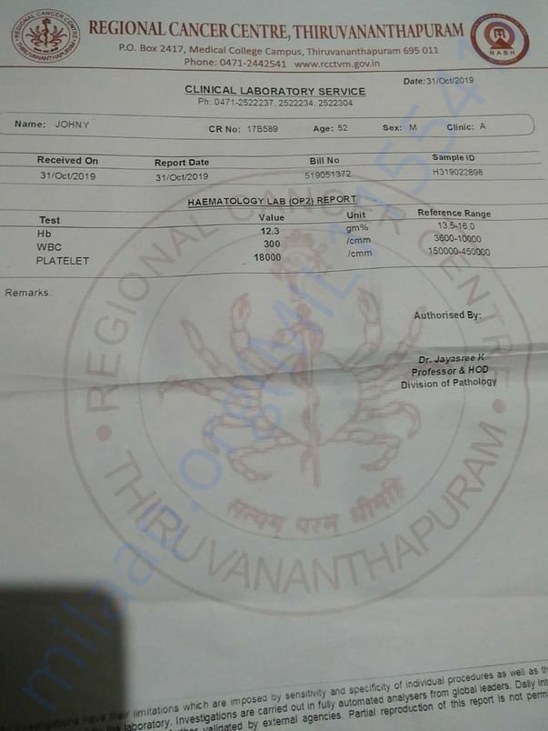 Clinical Laboratory Report
