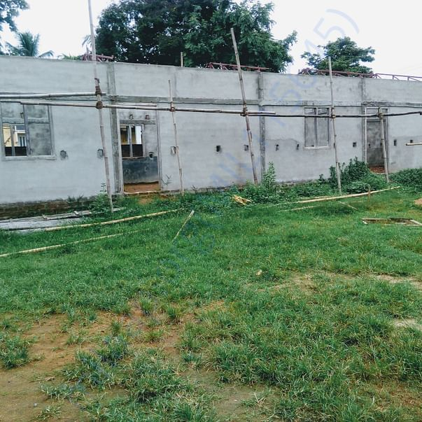 The incomplete school building without the veranda