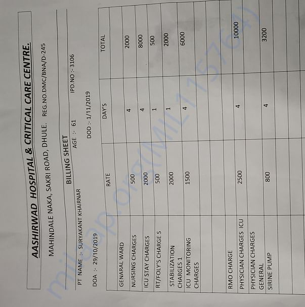 Manohar Hospital ( Aashirvad) bill details