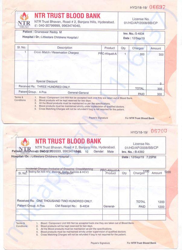 Blood Bank Payment Receipt
