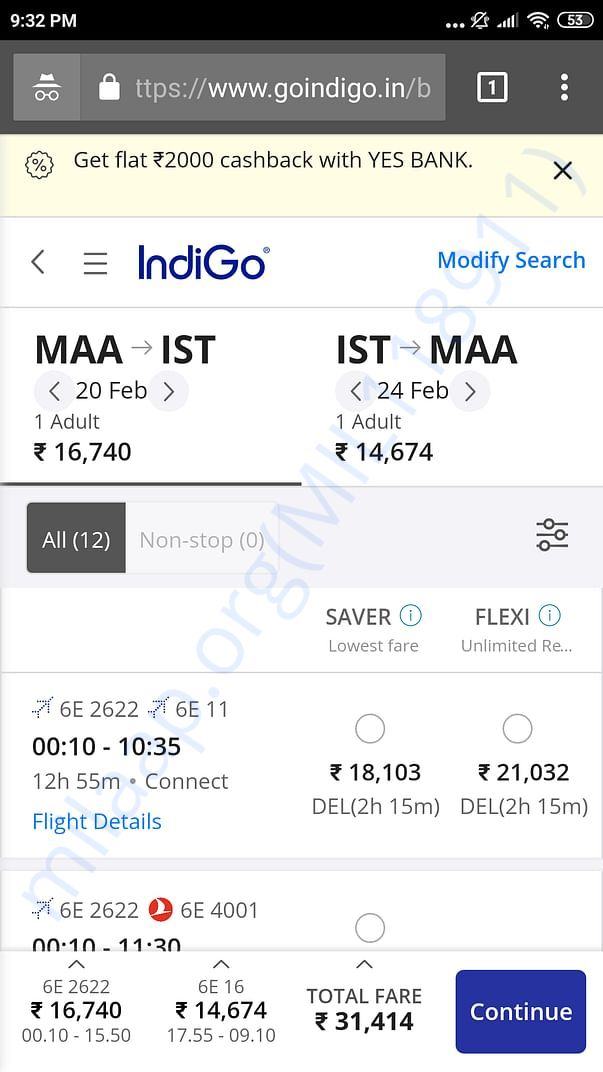 Air tickets expenses details