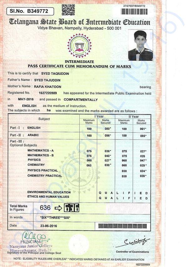 Intermediate marks card
