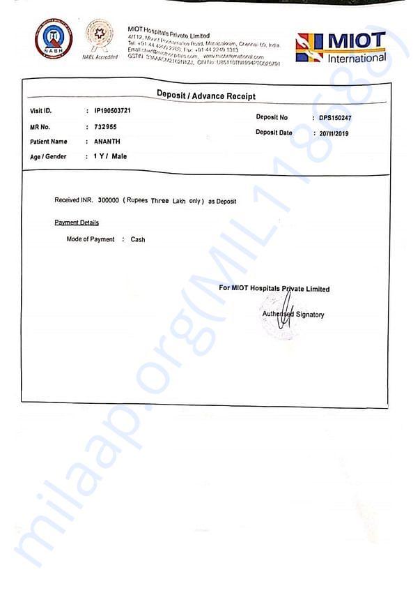 Receipt of 3 Lakh