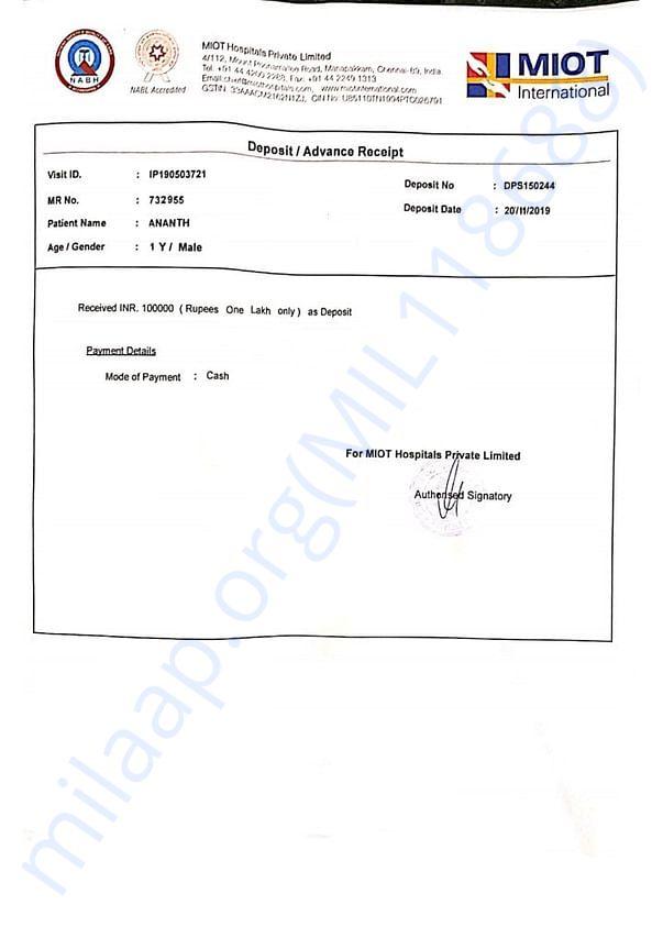 Receipt of 1 Lakh