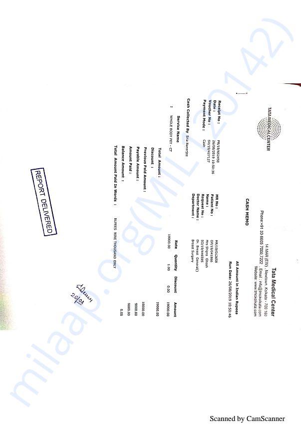 Bills of medical tests conducted at Tata Medical Center, Kolkata