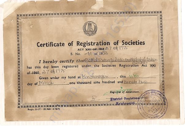 The Registration Certificate of Bethel Society
