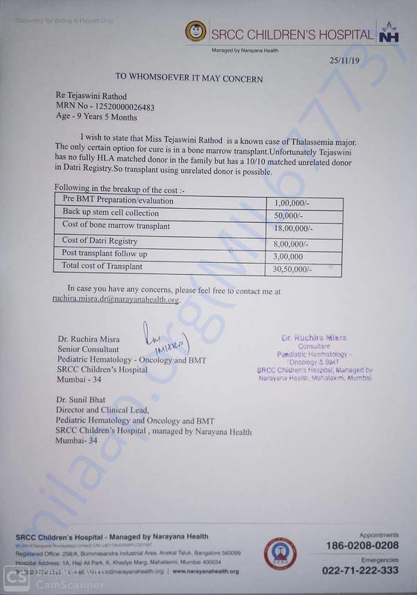 HOSPITAL ESTIMATE LETTER (SRCC children hospital mumbai)