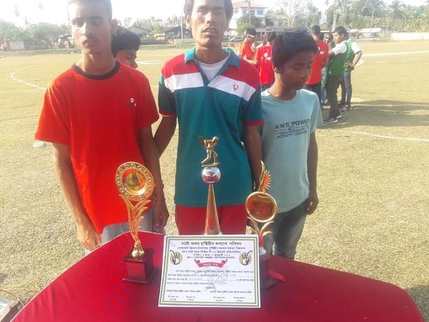 The visually impaired students after their victory in cricket tourname