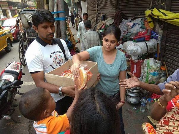 Blanket distribution to the street dwellers of Kolkata