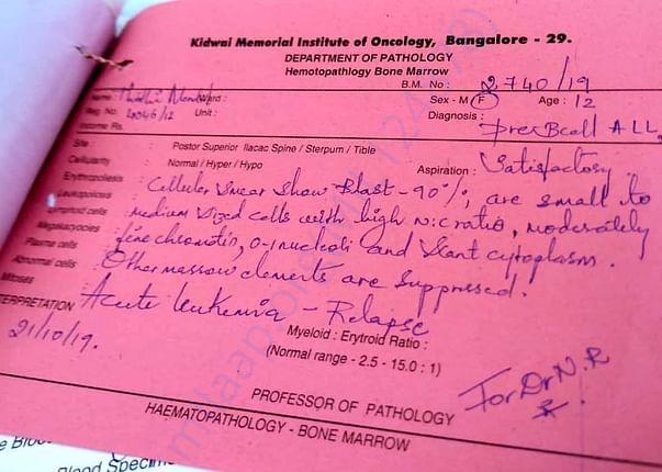 Report of pathologist showing acute leukemia